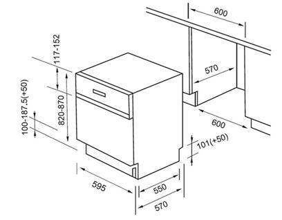 valenti洗碗机安装尺寸图